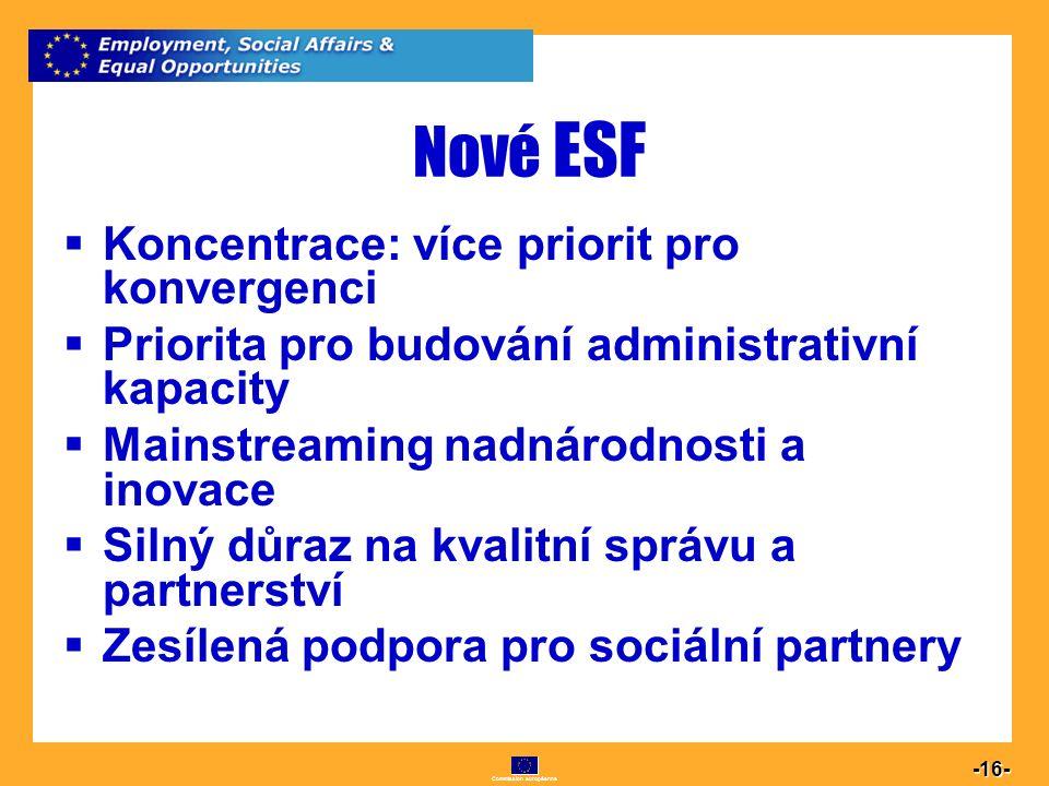 Commission européenne 16 -16- Nové ESF  Koncentrace: více priorit pro konvergenci  Priorita pro budování administrativní kapacity  Mainstreaming na