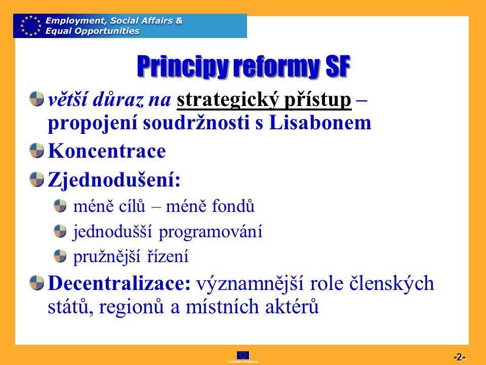 Commission européenne 2 -2- Principy reformy SF větší důraz na strategický přístup – propojení soudržnosti s Lisabonem Koncentrace Zjednodušení: méně
