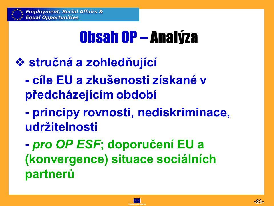 Commission européenne 23 -23- Obsah OP – Analýza  stručná a zohledňující - cíle EU a zkušenosti získané v předcházejícím období - principy rovnosti,
