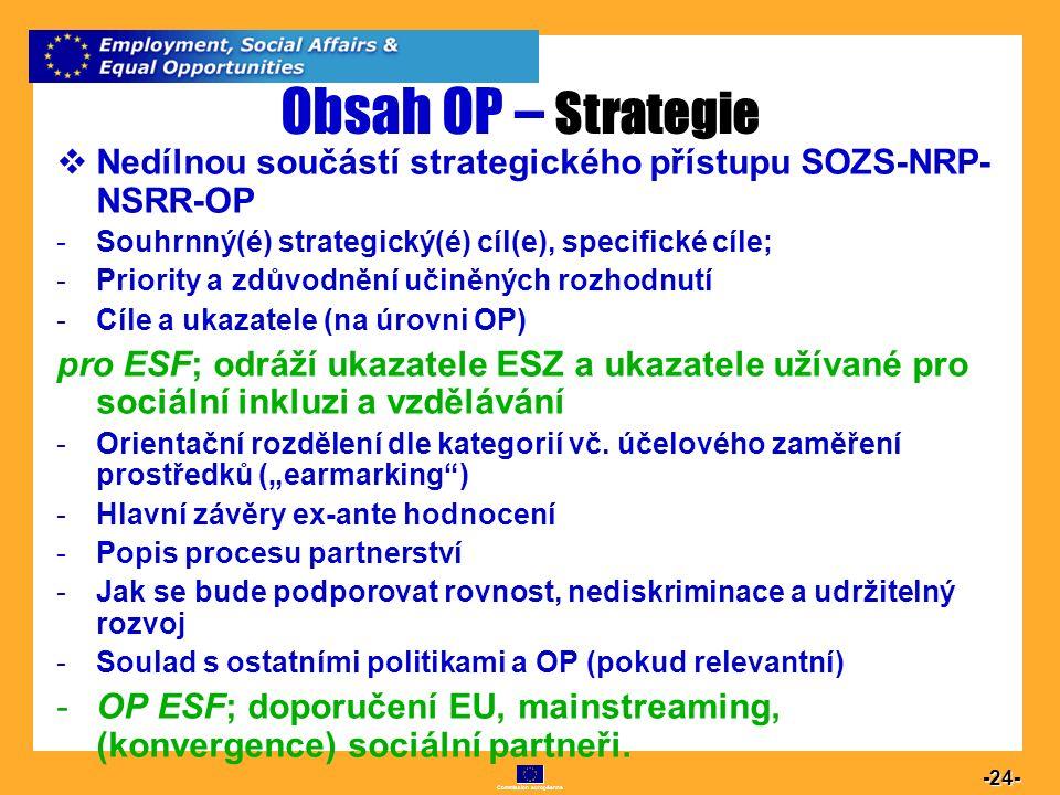 Commission européenne 24 -24- Obsah OP – Strategie  Nedílnou součástí strategického přístupu SOZS-NRP- NSRR-OP -Souhrnný(é) strategický(é) cíl(e), sp