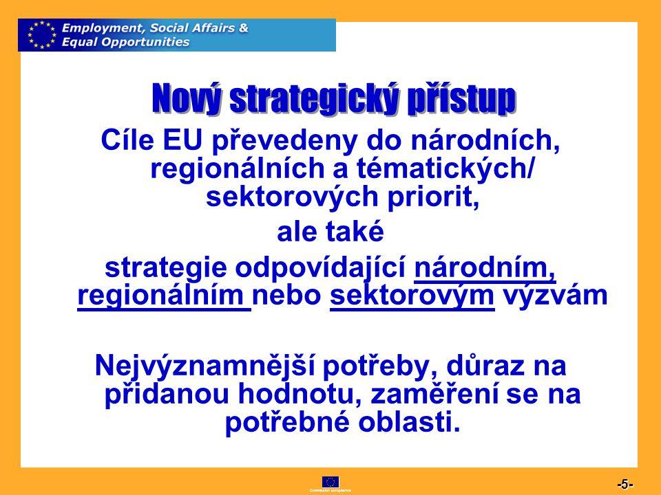 Commission européenne 5 -5- Nový strategický přístup Cíle EU převedeny do národních, regionálních a tématických/ sektorových priorit, ale také strateg
