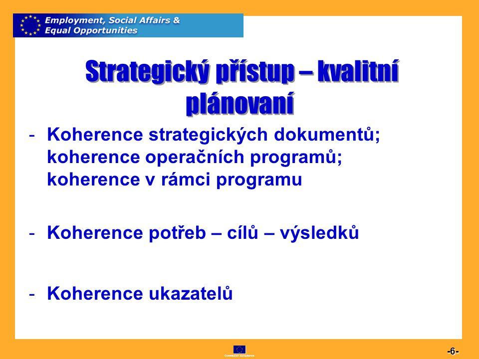 Commission européenne 6 -6- Strategický přístup – kvalitní plánovaní -Koherence strategických dokumentů; koherence operačních programů; koherence v rá