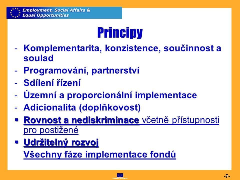 Commission européenne 7 -7- Principy -Komplementarita, konzistence, součinnost a soulad -Programování, partnerství -Sdílení řízení -Územní a proporcio