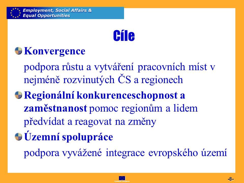 Commission européenne 8 -8- Cíle Konvergence podpora růstu a vytváření pracovních míst v nejméně rozvinutých ČS a regionech Regionální konkurenceschop