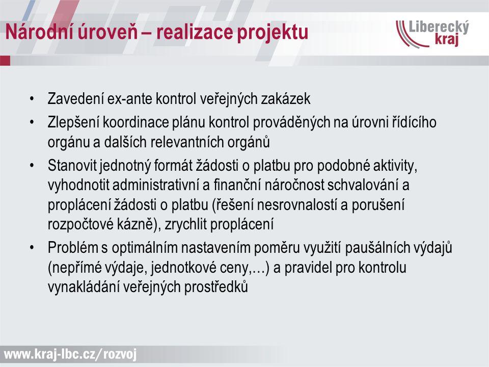 Národní úroveň – realizace projektu Zavedení ex-ante kontrol veřejných zakázek Zlepšení koordinace plánu kontrol prováděných na úrovni řídícího orgánu
