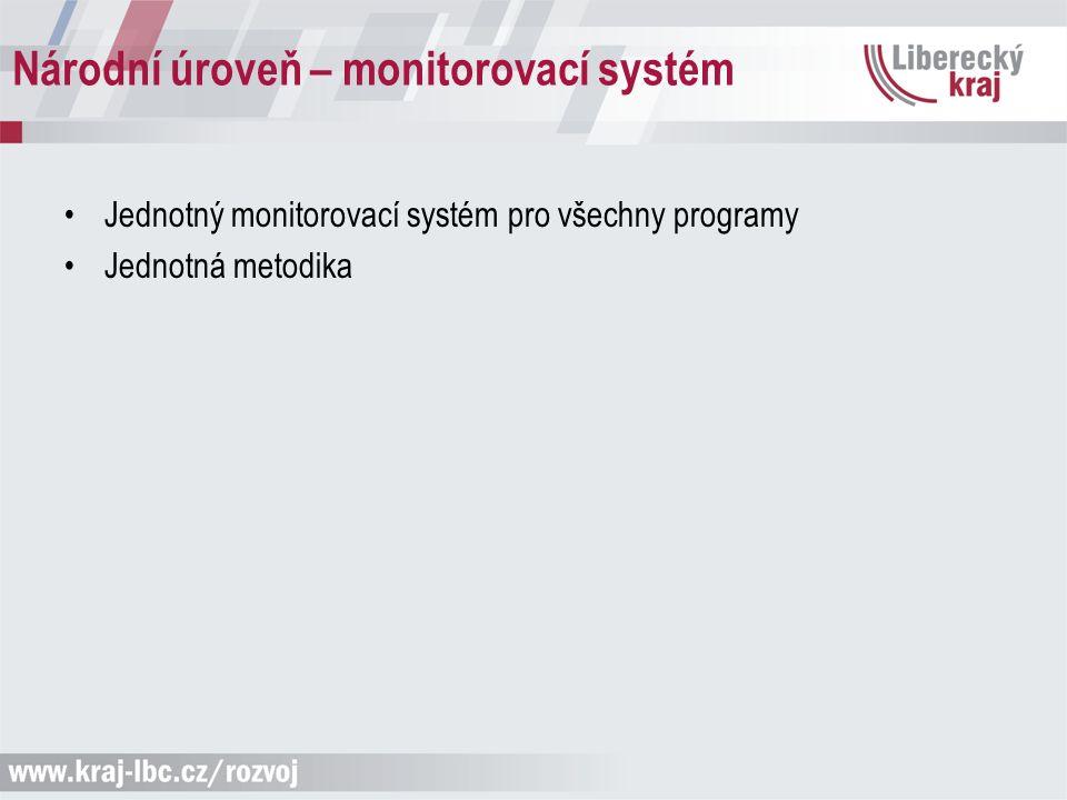 Národní úroveň – monitorovací systém Jednotný monitorovací systém pro všechny programy Jednotná metodika