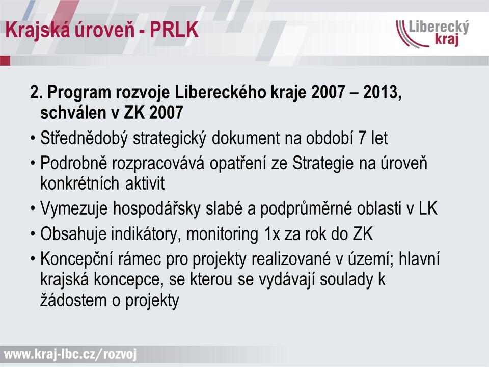 Krajská úroveň - PRLK 2. Program rozvoje Libereckého kraje 2007 – 2013, schválen v ZK 2007 Střednědobý strategický dokument na období 7 let Podrobně r