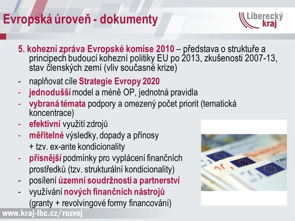 Evropská úroveň - dokumenty 5. kohezní zpráva Evropské komise 2010 – představa o struktuře a principech budoucí kohezní politiky EU po 2013, zkušenost