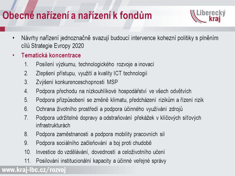 Obecné nařízení a nařízení k fondům Návrhy nařízení jednoznačně svazují budoucí intervence kohezní politiky s plněním cílů Strategie Evropy 2020 Temat