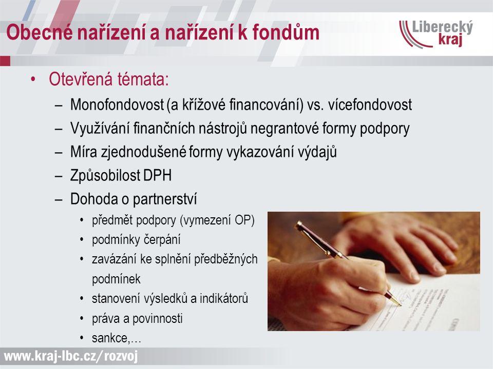 Obecné nařízení a nařízení k fondům Otevřená témata: –Monofondovost (a křížové financování) vs. vícefondovost –Využívání finančních nástrojů negrantov