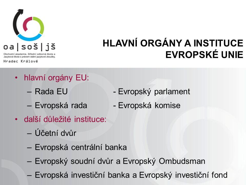 HLAVNÍ ORGÁNY A INSTITUCE EVROPSKÉ UNIE hlavní orgány EU: –Rada EU- Evropský parlament –Evropská rada- Evropská komise další důležité instituce: –Účetní dvůr –Evropská centrální banka –Evropský soudní dvůr a Evropský Ombudsman –Evropská investiční banka a Evropský investiční fond