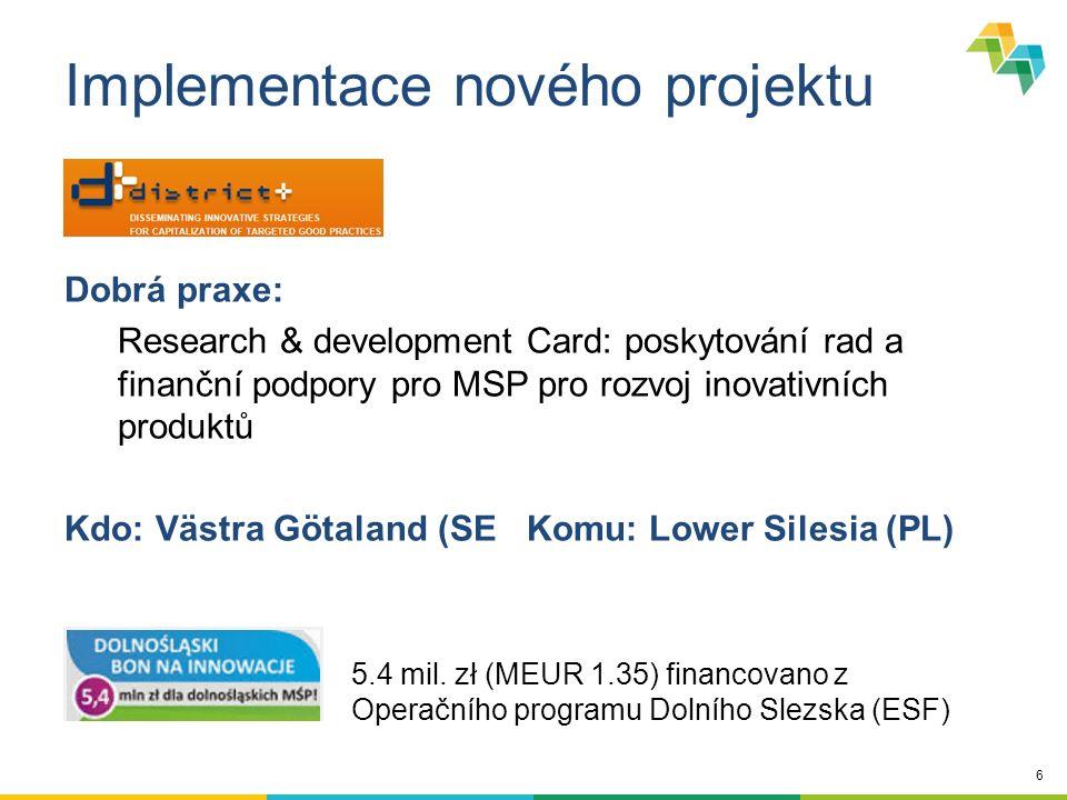 17 Podporované aktivity Projekty  Omezený počet regionů (partnerů)  2 fáze  Stakeholder groups  Akční plán Policy learning platforms - Platformy  Otevřené všem  Úzce spojené s projekty