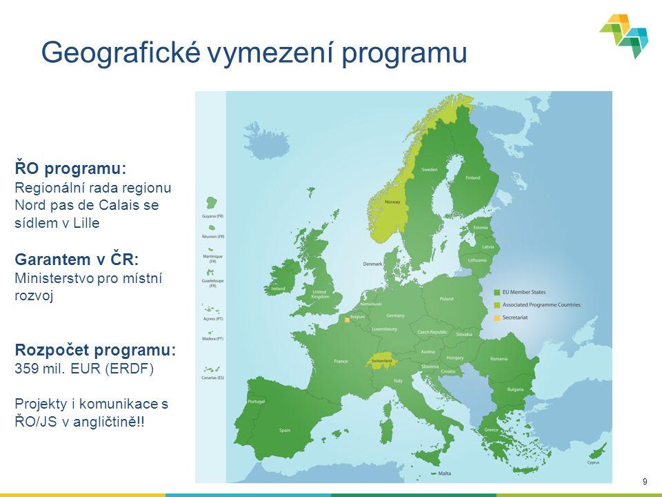 20 Cílová skupina Řídící orgány programů Strukturálních fondů (hl.