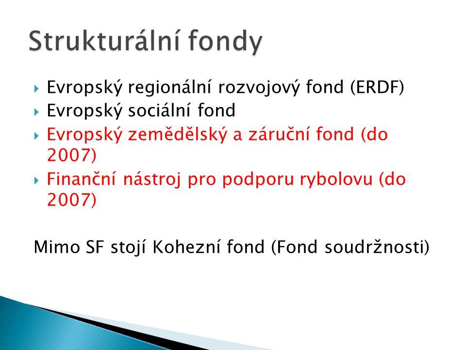  Evropský regionální rozvojový fond (ERDF)  Evropský sociální fond  Evropský zemědělský a záruční fond (do 2007)  Finanční nástroj pro podporu rybolovu (do 2007) Mimo SF stojí Kohezní fond (Fond soudržnosti)