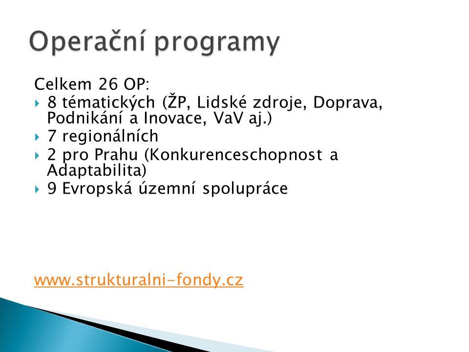 Celkem 26 OP:  8 tématických (ŽP, Lidské zdroje, Doprava, Podnikání a Inovace, VaV aj.)  7 regionálních  2 pro Prahu (Konkurenceschopnost a Adaptabilita)  9 Evropská územní spolupráce www.strukturalni-fondy.cz