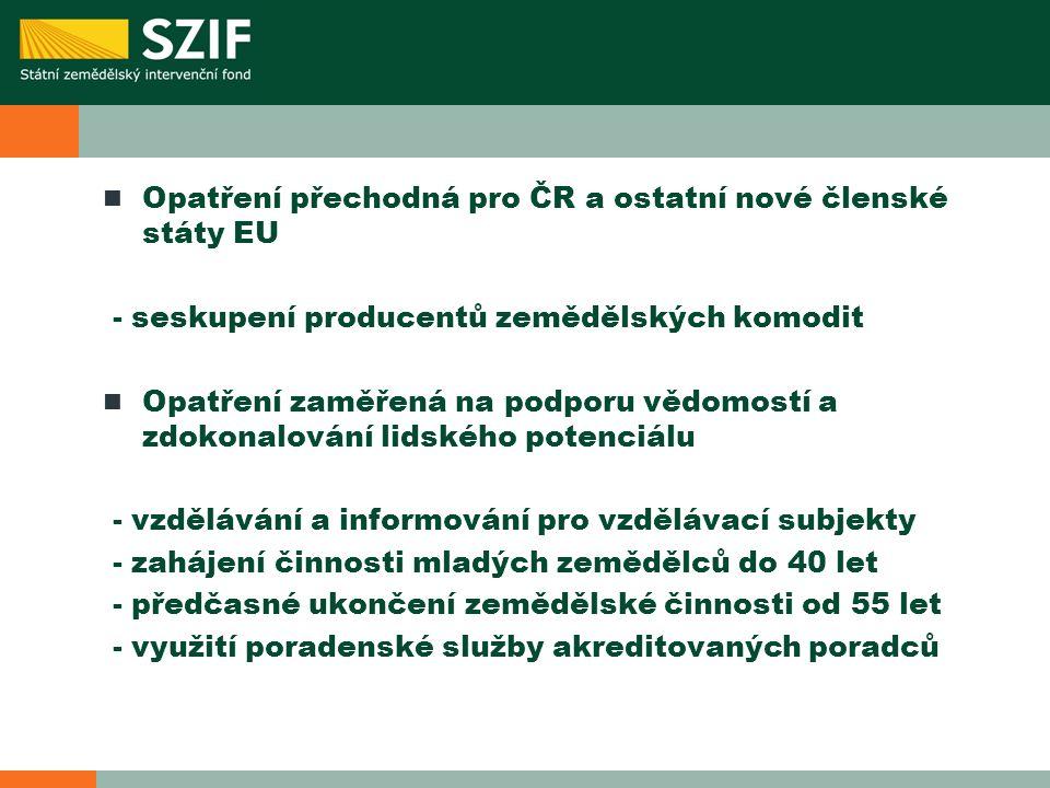 Opatření přechodná pro ČR a ostatní nové členské státy EU - seskupení producentů zemědělských komodit Opatření zaměřená na podporu vědomostí a zdokonalování lidského potenciálu - vzdělávání a informování pro vzdělávací subjekty - zahájení činnosti mladých zemědělců do 40 let - předčasné ukončení zemědělské činnosti od 55 let - využití poradenské služby akreditovaných poradců