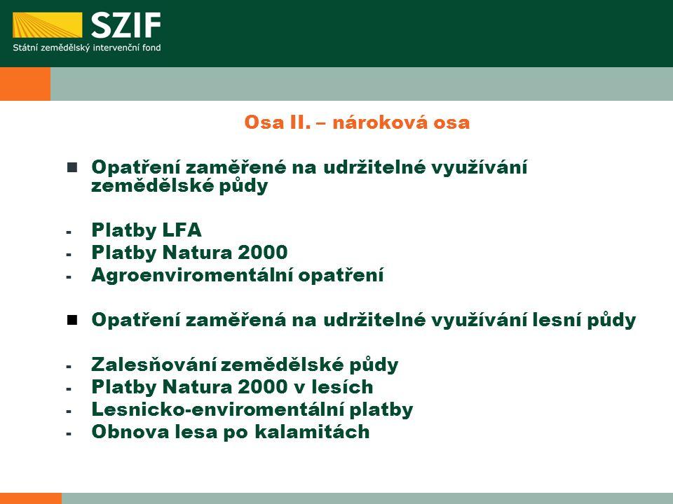 Osa II. – nároková osa Opatření zaměřené na udržitelné využívání zemědělské půdy - Platby LFA - Platby Natura 2000 - Agroenviromentální opatření Opatř