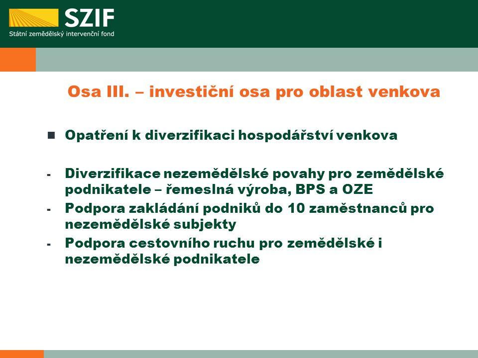Osa III. – investiční osa pro oblast venkova Opatření k diverzifikaci hospodářství venkova - Diverzifikace nezemědělské povahy pro zemědělské podnikat