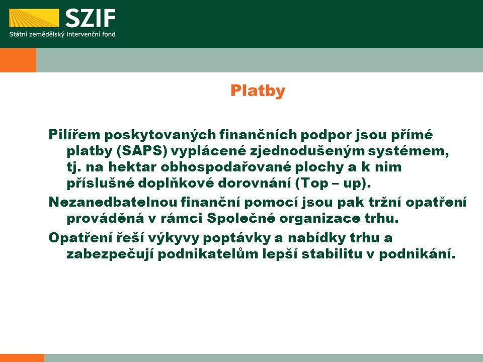 Platby Pilířem poskytovaných finančních podpor jsou přímé platby (SAPS) vyplácené zjednodušeným systémem, tj. na hektar obhospodařované plochy a k nim