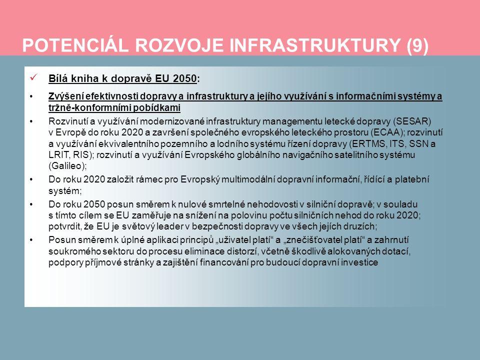 NÁSTROJ PRO PROPOJENÍ EVROPY (1) CEF: jedna z nejvýznamnějších navrhovaných inovací v rámci návrhu Evropské komise k Víceleté finanční perspektivě (rámci) /VFP/ na období let 2014 – 2020; jedna z uvažovaných prioritních oblastí pro budoucí financování ze zdrojů Rozpočtu EU v nadcházejícím období; Vychází z potřeby EU zlepšit fungování a procesy Jednotného vnitřního trhu a z předpokladu, že bez moderní, vysoce výkonné infrastruktuře propojující Evropu přednostně v oblasti dopravy, energetiky a informačních a komunikačních technologiích není v nadcházejícím období vysoce konkurenceschopný JVT EU možný; Provedený odhad: rozvojový potenciál k finalizaci a kompletizaci transevropských dopravních sítí činí cca 540 mld.