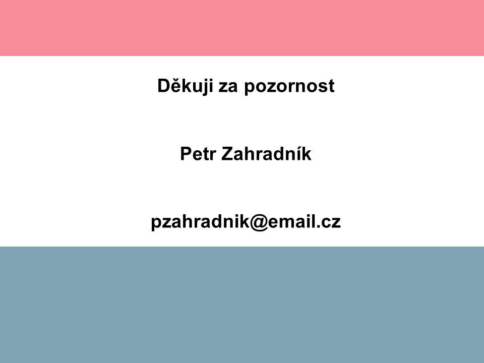 Děkuji za pozornost Petr Zahradník pzahradnik@email.cz