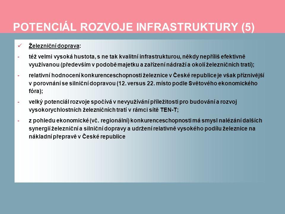 POTENCIÁL ROZVOJE INFRASTRUKTURY (6) Letecká doprava: -efektivní provázanost letišť s dalšími druhy dopravy (tristní stav na prakticky všech mezinárodních letištích v České republice, především v Praze – bez jakékoliv návaznosti kolejové dopravy – metro, tramvaj, příměstský vlak); -učinit z prostorů letišť obchodní a podnikatelská centra; -pečlivé zvažování reálných možností stávajících či zamýšlených regionálních letišť Vodní doprava: -komplikovanost strategického celoročního spojení tuzemských toků s evropskou sítí vodních cest (především Labe a severoněmecké námořní přístavy); -též propojenost lodní dopravy s jinými módy