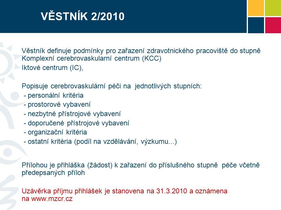 VĚSTNÍK 2/2010 Věstník definuje podmínky pro zařazení zdravotnického pracoviště do stupně Komplexní cerebrovaskularní centrum (KCC) Iktové centrum (IC), Popisuje cerebrovaskulární péči na jednotlivých stupních: - personální kritéria - prostorové vybavení - nezbytné přístrojové vybavení - doporučené přístrojové vybavení - organizační kritéria - ostatní kritéria (podíl na vzdělávání, výzkumu...) Přílohou je přihláška (žádost) k zařazení do příslušného stupně péče včetně předepsaných příloh Uzávěrka příjmu přihlášek je stanovena na 31.3.2010 a oznámena na www.mzcr.cz