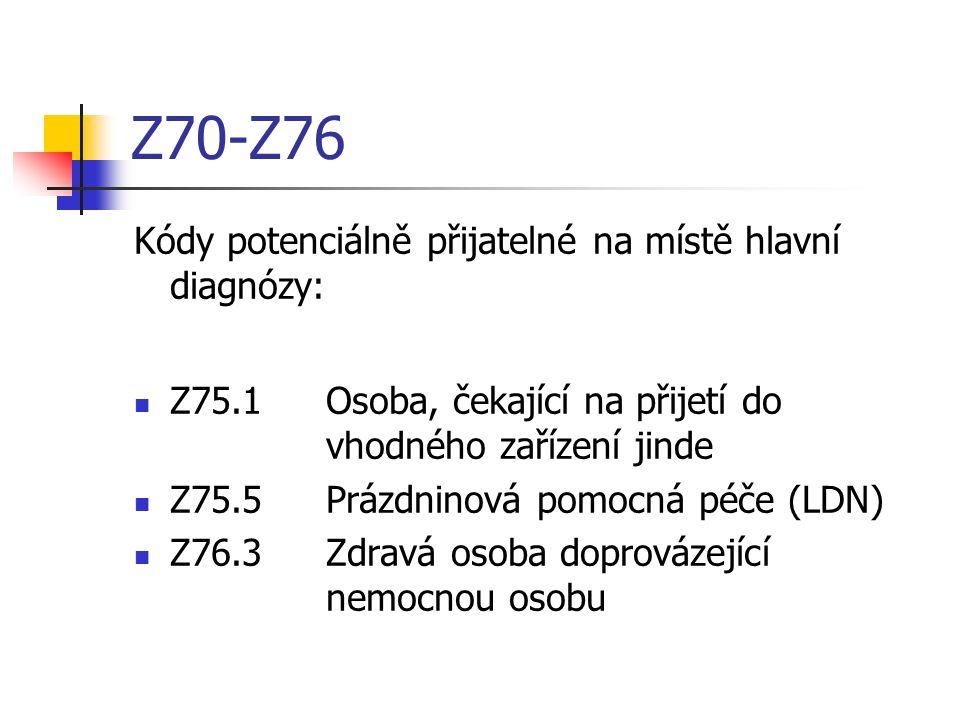Z70-Z76 Kódy potenciálně přijatelné na místě hlavní diagnózy: Z75.1Osoba, čekající na přijetí do vhodného zařízení jinde Z75.5Prázdninová pomocná péče (LDN) Z76.3Zdravá osoba doprovázející nemocnou osobu