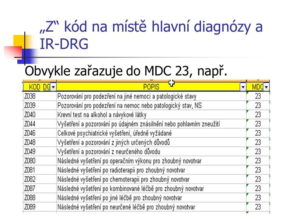 """""""Z kód na místě hlavní diagnózy a IR-DRG Obvykle zařazuje do MDC 23, např."""