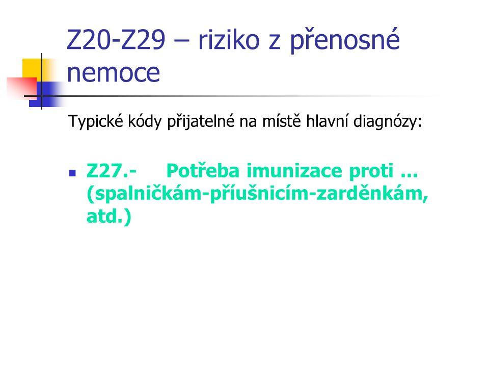 Z20-Z29 – riziko z přenosné nemoce Typické kódy přijatelné na místě hlavní diagnózy: Z27.-Potřeba imunizace proti...