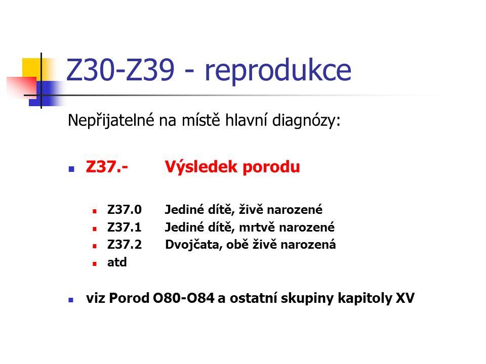 Z30-Z39 - reprodukce Nepřijatelné na místě hlavní diagnózy: Z37.-Výsledek porodu Z37.0Jediné dítě, živě narozené Z37.1Jediné dítě, mrtvě narozené Z37.2Dvojčata, obě živě narozená atd viz Porod O80-O84 a ostatní skupiny kapitoly XV