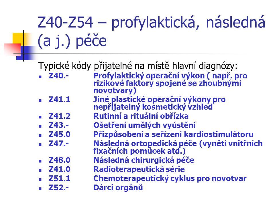 Z40-Z54 – profylaktická, následná (a j.) péče Typické kódy přijatelné na místě hlavní diagnózy: Z40.-Profylaktický operační výkon ( např.