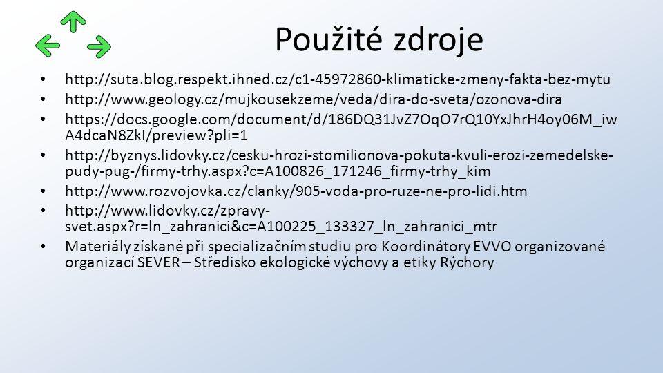 http://suta.blog.respekt.ihned.cz/c1-45972860-klimaticke-zmeny-fakta-bez-mytu http://www.geology.cz/mujkousekzeme/veda/dira-do-sveta/ozonova-dira http