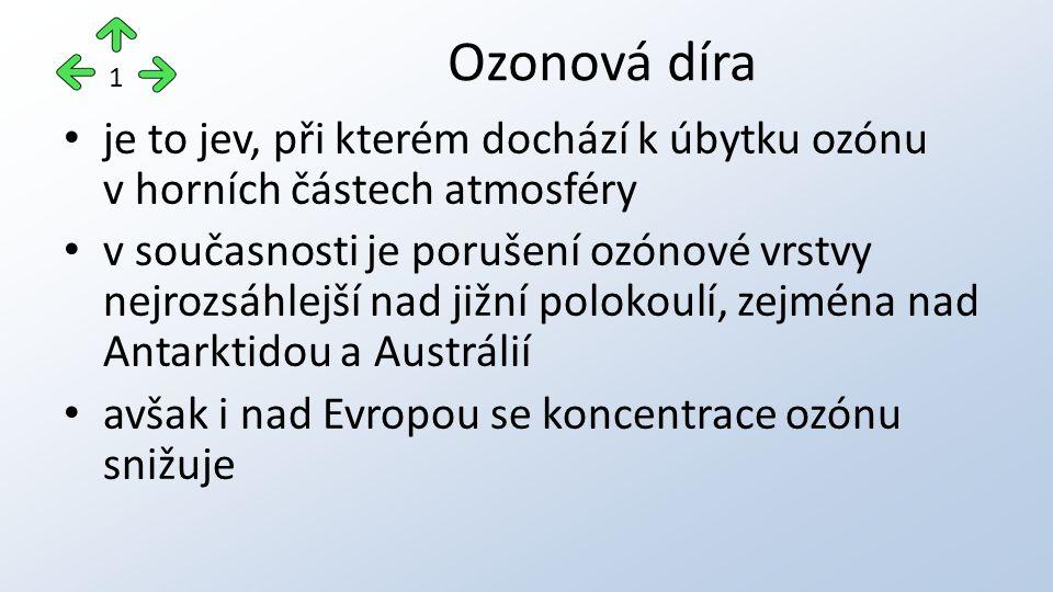 je to jev, při kterém dochází k úbytku ozónu v horních částech atmosféry v současnosti je porušení ozónové vrstvy nejrozsáhlejší nad jižní polokoulí, zejména nad Antarktidou a Austrálií avšak i nad Evropou se koncentrace ozónu snižuje Ozonová díra 1