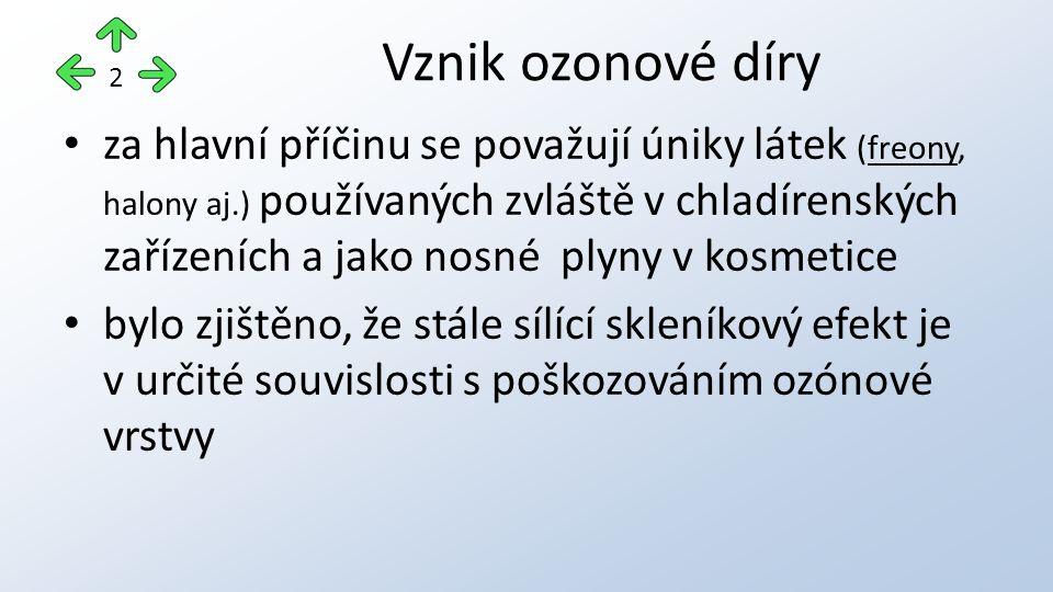 za hlavní příčinu se považují úniky látek (freony, halony aj.) používaných zvláště v chladírenských zařízeních a jako nosné plyny v kosmetice bylo zjištěno, že stále sílící skleníkový efekt je v určité souvislosti s poškozováním ozónové vrstvy Vznik ozonové díry 2