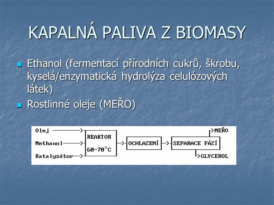 KAPALNÁ PALIVA Z BIOMASY Ethanol (fermentací přírodních cukrů, škrobu, kyselá/enzymatická hydrolýza celulózových látek) Ethanol (fermentací přírodních cukrů, škrobu, kyselá/enzymatická hydrolýza celulózových látek) Rostlinné oleje (MEŘO) Rostlinné oleje (MEŘO)