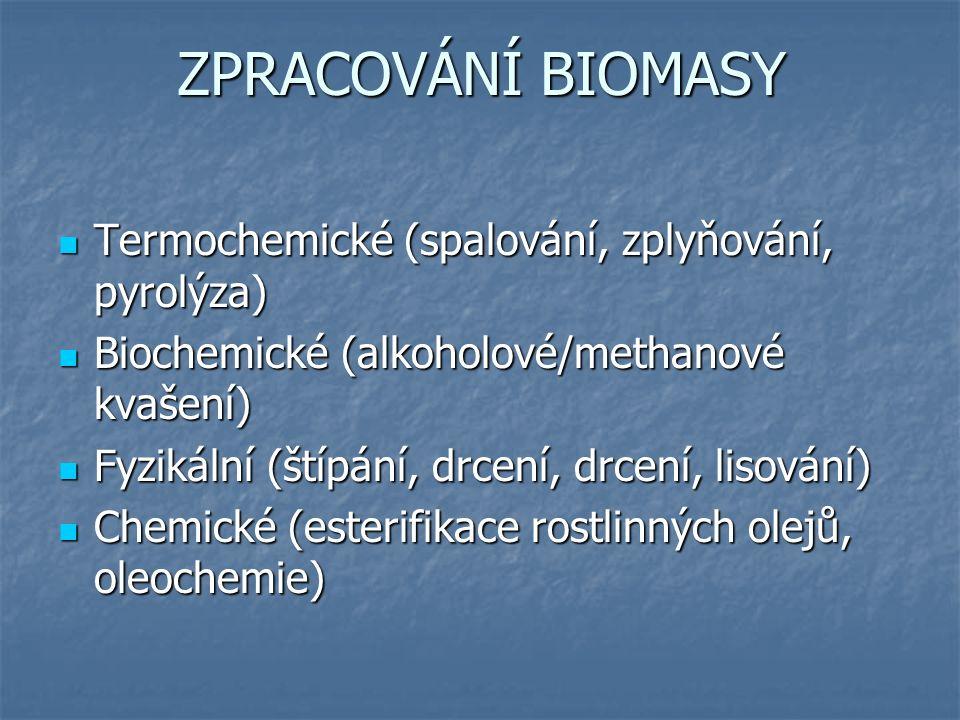 ZPRACOVÁNÍ BIOMASY Termochemické (spalování, zplyňování, pyrolýza) Termochemické (spalování, zplyňování, pyrolýza) Biochemické (alkoholové/methanové kvašení) Biochemické (alkoholové/methanové kvašení) Fyzikální (štípání, drcení, drcení, lisování) Fyzikální (štípání, drcení, drcení, lisování) Chemické (esterifikace rostlinných olejů, oleochemie) Chemické (esterifikace rostlinných olejů, oleochemie)