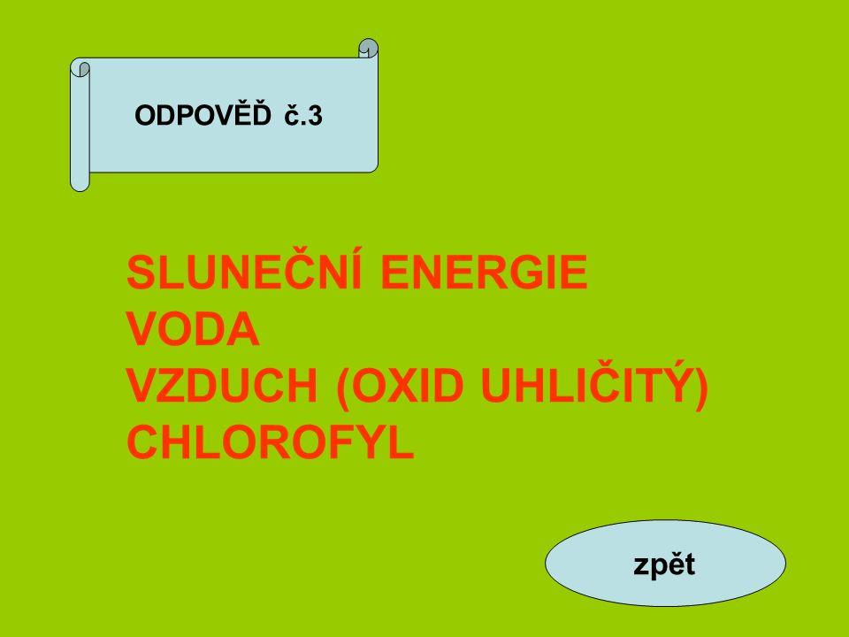 ODPOVĚĎ č.3 SLUNEČNÍ ENERGIE VODA VZDUCH (OXID UHLIČITÝ) CHLOROFYL zpět