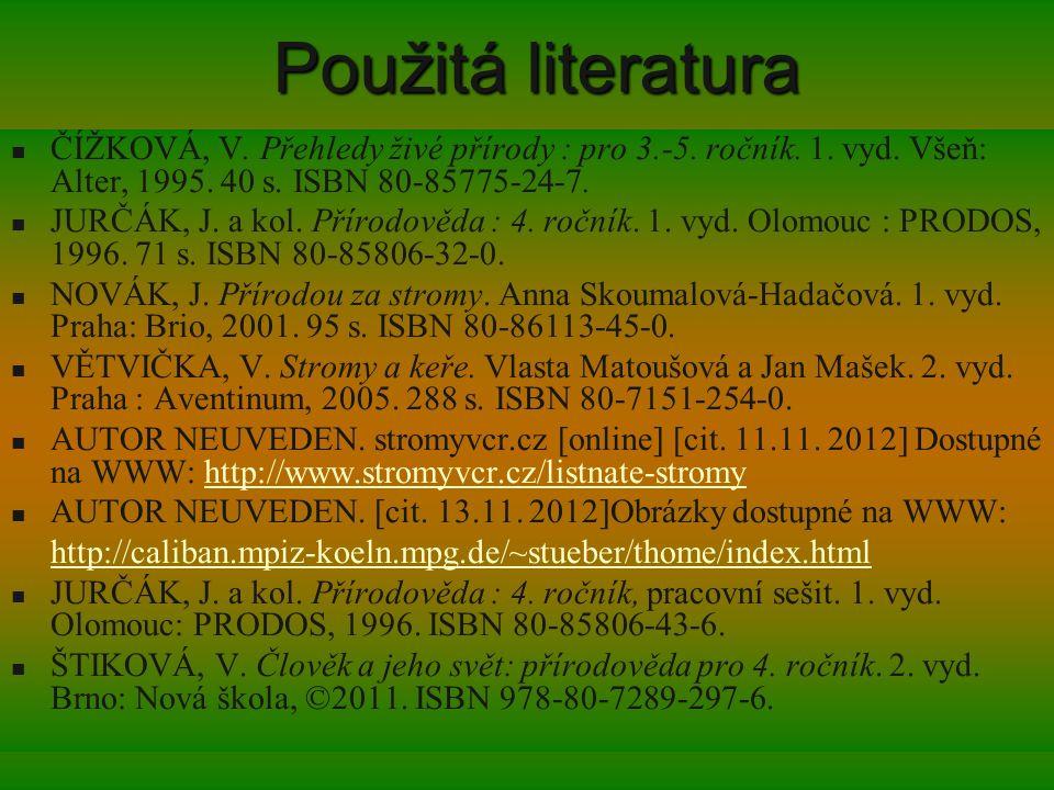 Použitá literatura ČÍŽKOVÁ, V. Přehledy živé přírody : pro 3.-5. ročník. 1. vyd. Všeň: Alter, 1995. 40 s. ISBN 80-85775-24-7. JURČÁK, J. a kol. Přírod