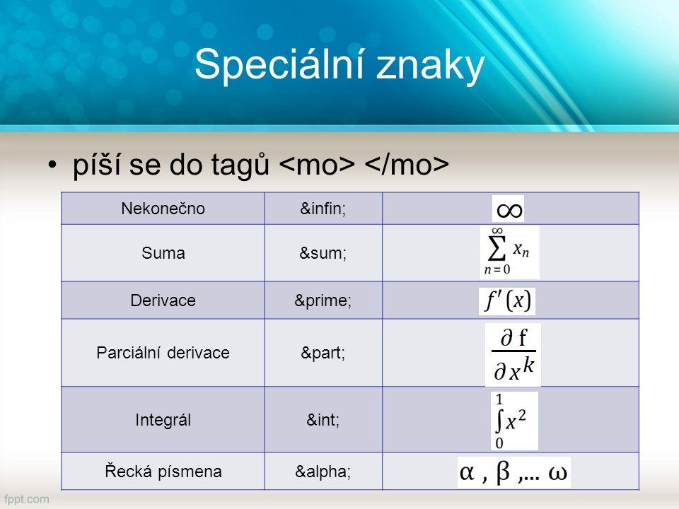 Speciální znaky píší se do tagů Nekonečno∞ Suma∑ Derivace′ Parciální derivace∂ Integrál∫ Řecká písmenaα