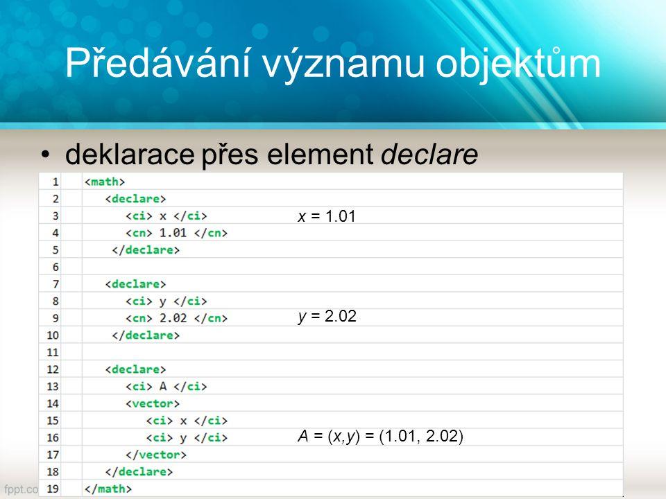 Předávání významu objektům deklarace přes element declare x = 1.01 y = 2.02 A = (x,y) = (1.01, 2.02)