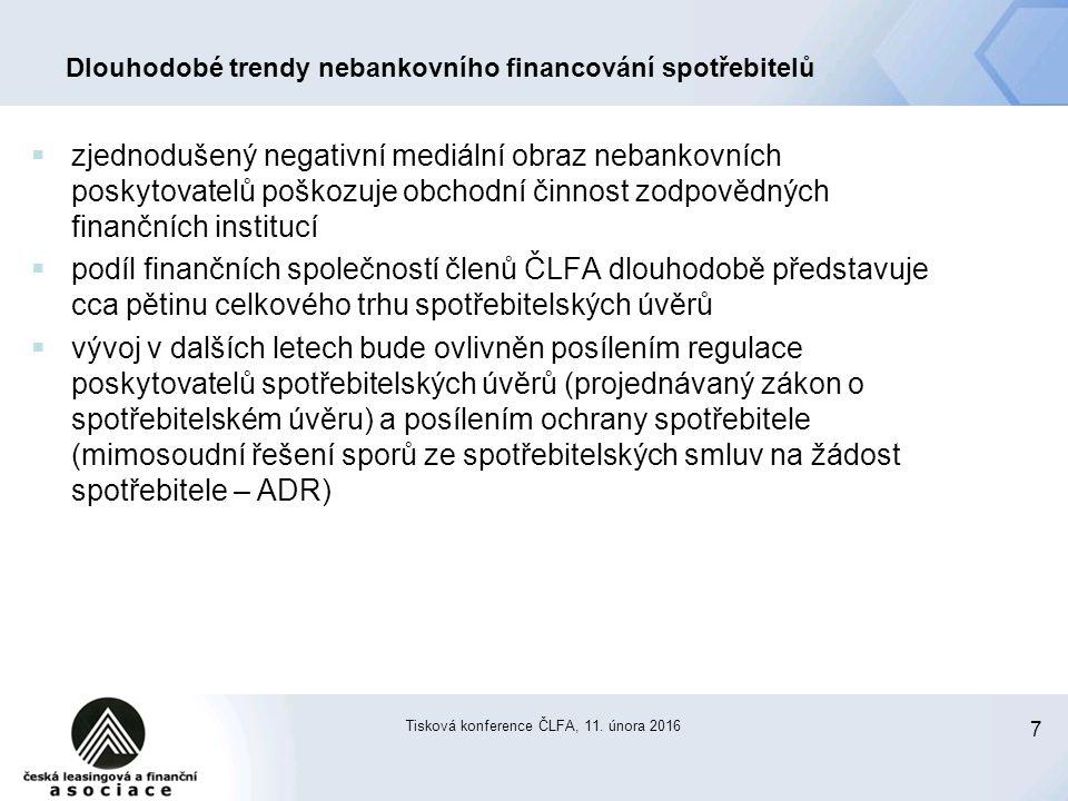 7 Tisková konference ČLFA, 11. února 2016 Dlouhodobé trendy nebankovního financování spotřebitelů  zjednodušený negativní mediální obraz nebankovních