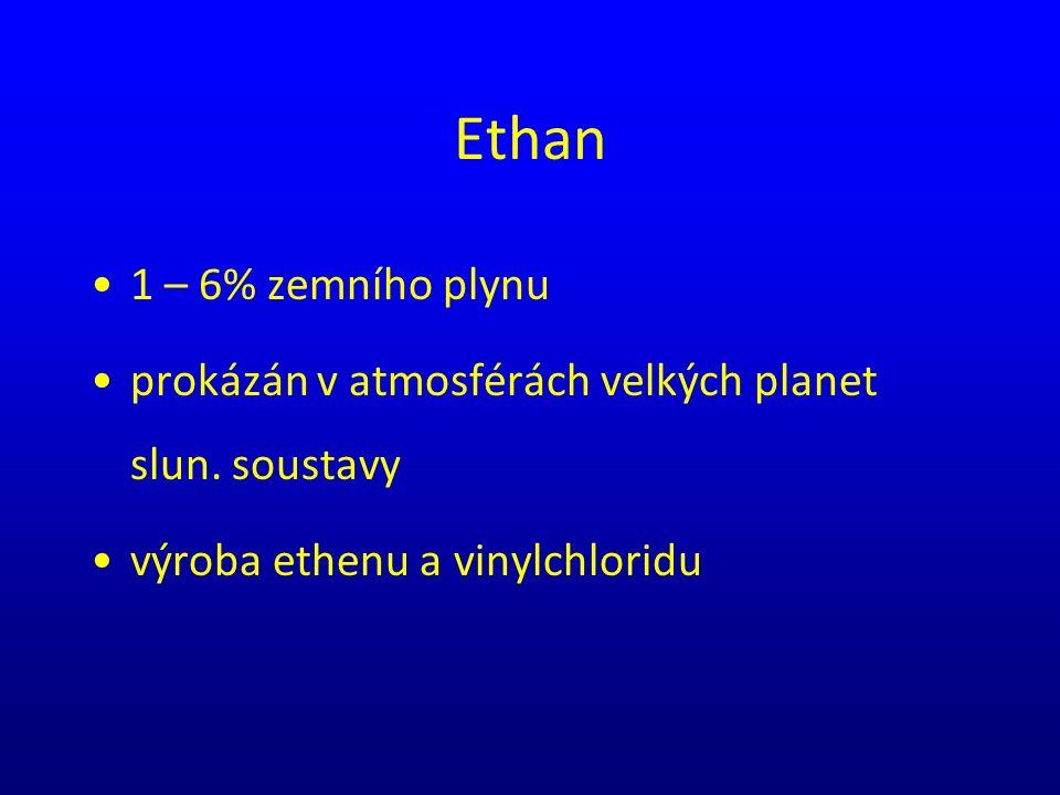 Ethan 1 – 6% zemního plynu prokázán v atmosférách velkých planet slun. soustavy výroba ethenu a vinylchloridu