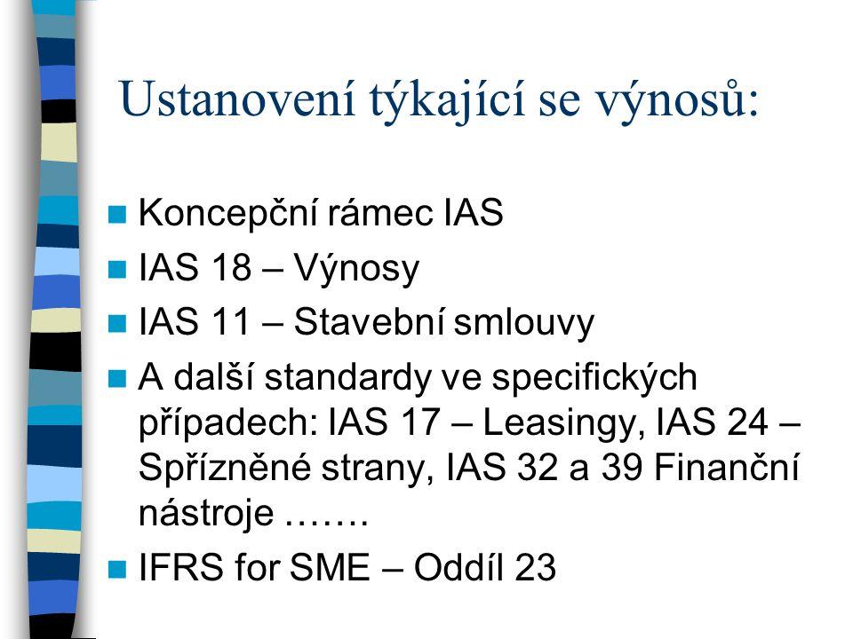 Ustanovení týkající se výnosů: Koncepční rámec IAS IAS 18 – Výnosy IAS 11 – Stavební smlouvy A další standardy ve specifických případech: IAS 17 – Leasingy, IAS 24 – Spřízněné strany, IAS 32 a 39 Finanční nástroje …….