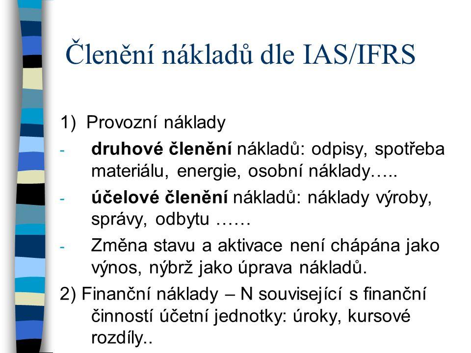 Členění nákladů dle IAS/IFRS 1) Provozní náklady - druhové členění nákladů: odpisy, spotřeba materiálu, energie, osobní náklady…..