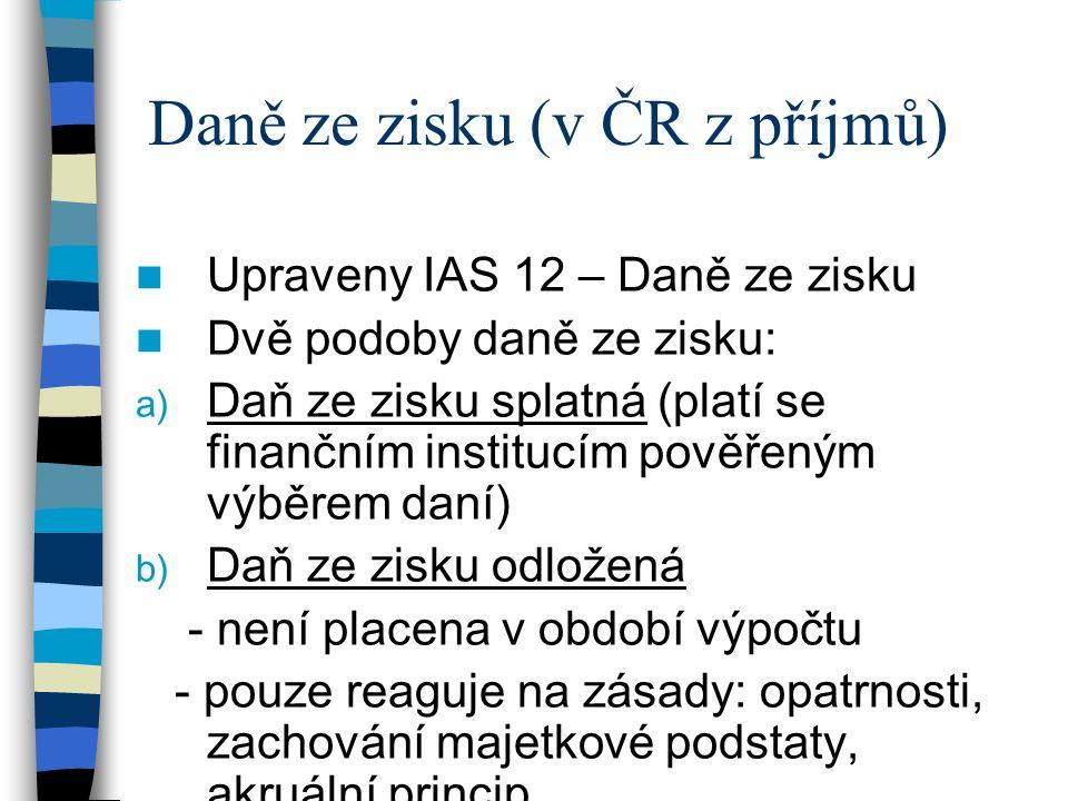 Daně ze zisku (v ČR z příjmů) Upraveny IAS 12 – Daně ze zisku Dvě podoby daně ze zisku: a) Daň ze zisku splatná (platí se finančním institucím pověřeným výběrem daní) b) Daň ze zisku odložená - není placena v období výpočtu - pouze reaguje na zásady: opatrnosti, zachování majetkové podstaty, akruální princip.