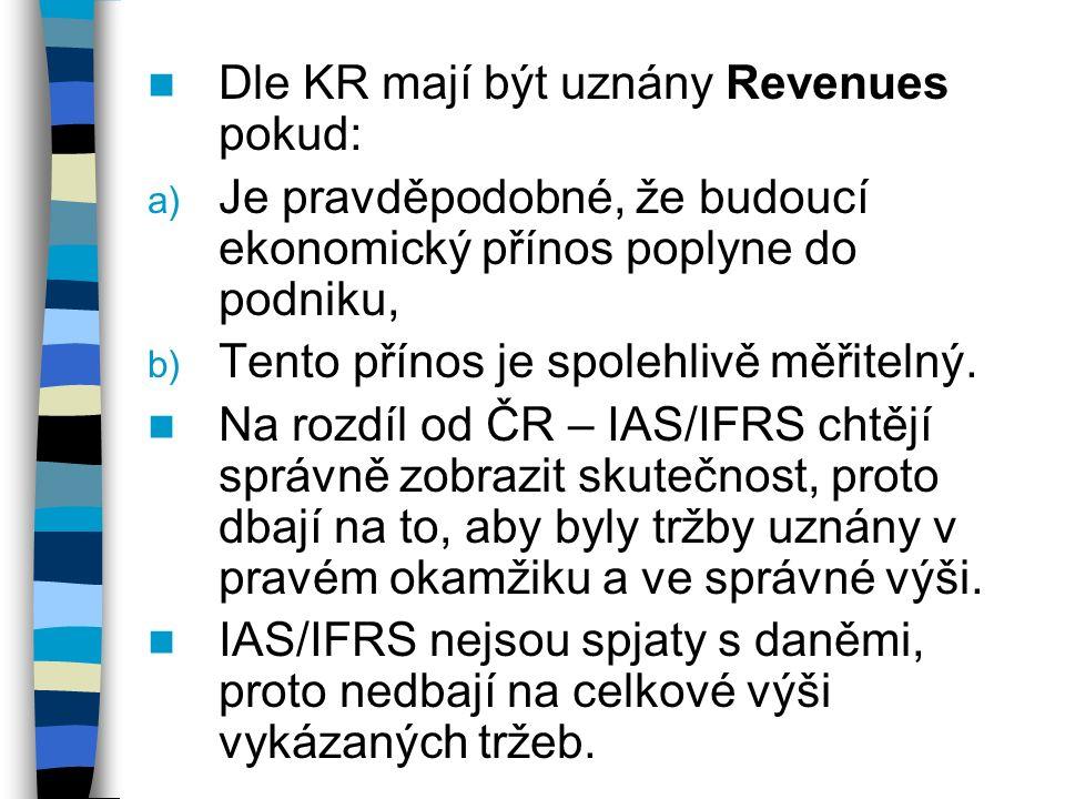 Dle KR mají být uznány Revenues pokud: a) Je pravděpodobné, že budoucí ekonomický přínos poplyne do podniku, b) Tento přínos je spolehlivě měřitelný.