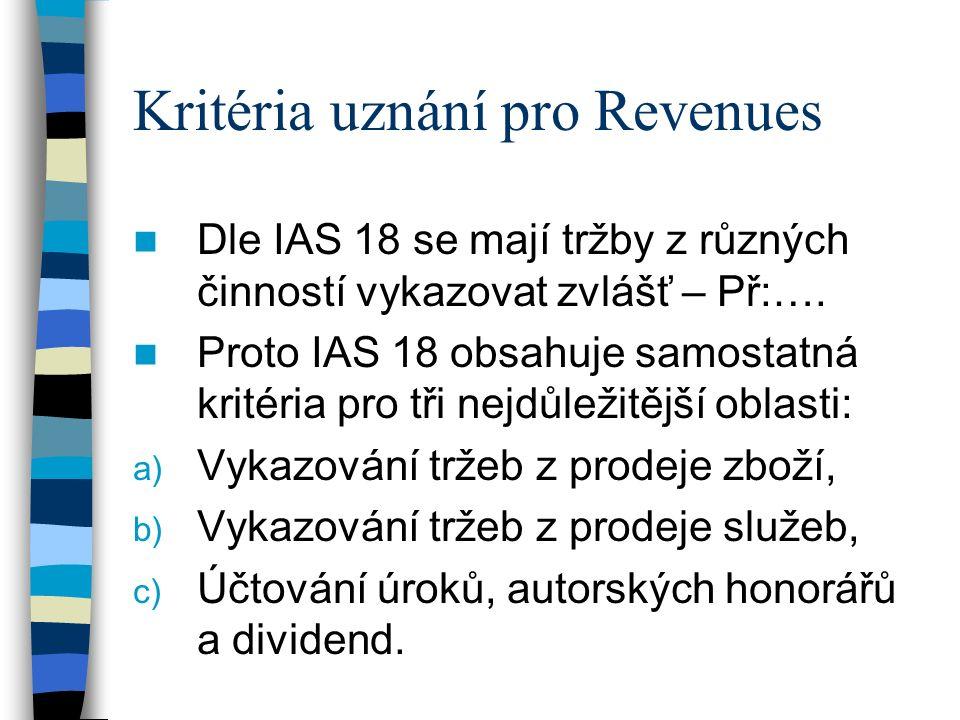 Kritéria uznání pro Revenues Dle IAS 18 se mají tržby z různých činností vykazovat zvlášť – Př:….