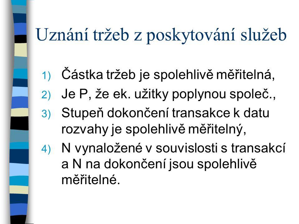 Uznání tržeb z poskytování služeb 1) Částka tržeb je spolehlivě měřitelná, 2) Je P, že ek.