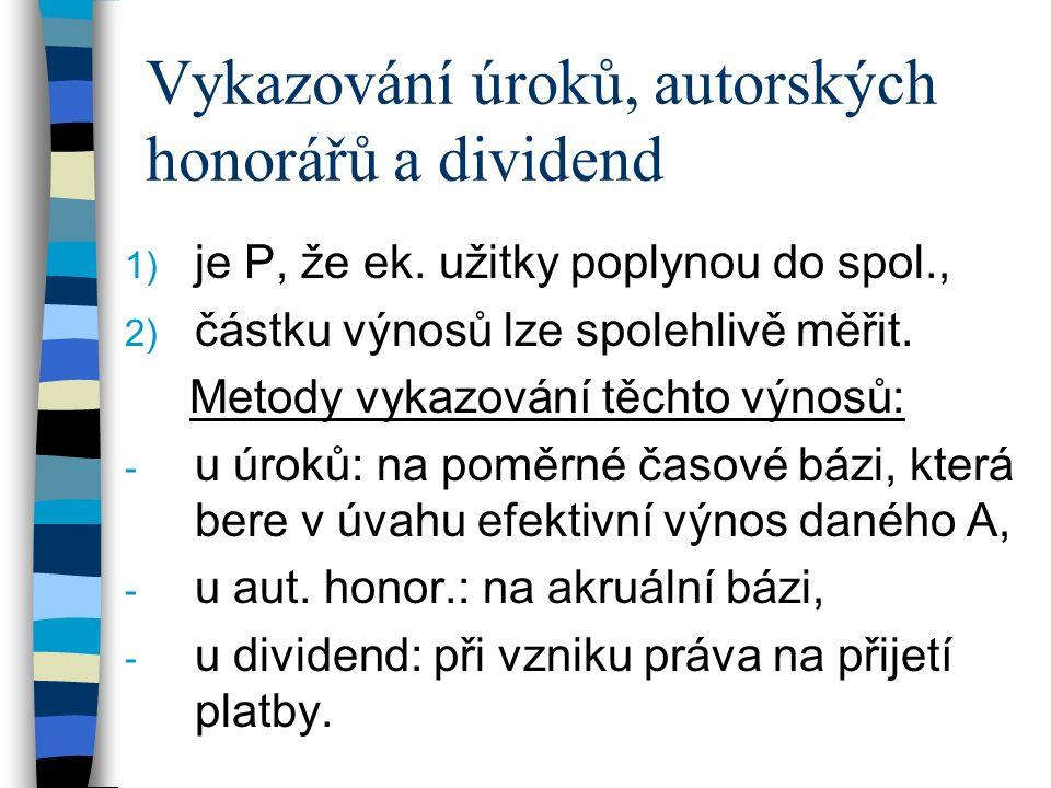Vykazování úroků, autorských honorářů a dividend 1) je P, že ek.